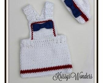 Crochet Dress Pattern - Sailor Hat Pattern - Mommas Lil Firecracker - 4th July - Baby Dress  Hat - Preemie NB 3 mo