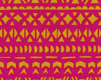 HALF YARD - Ellen Baker - Roughcut - Mosaic Pink and Orange - Cotton Linen Canvas  - Kokka  Japanese