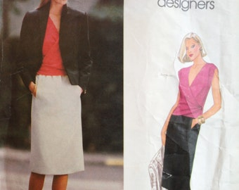 Vintage Vogue American Designers Sewing Pattern Oscar de la Renta 80s 90s Wrap Top Jacket and Skirt Suit Vogue 2655 36 Bust