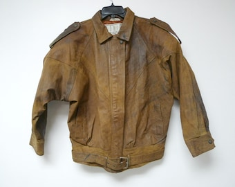 BB Dakota . 80s dark brown . distressed leather jacket . medium