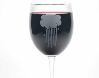 Rain Cloud Wine Glass - lucky rainy wedding day present