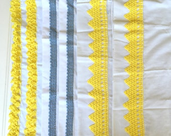 Pair Vintage Pillow Cases - White with Hand-Crocet Trim - Unused -NOS - Full Queen  - Handmade Yellow Blue Pillowcases
