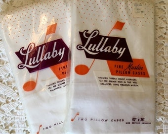 White Muslin Pillowcases - Vintage Pillowcases - Lullaby - Solid White Bedding - New - Unused - All Cotton - Full Cases