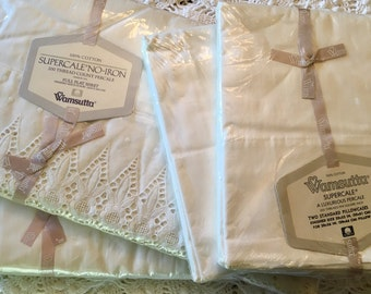 Full Set Vintage All Cotton Wamsutta Supercale - Luxurious Percale - Combed Percale Sheet Set - Ivory Eyelet Lace Sheet Set Anniversary Lace