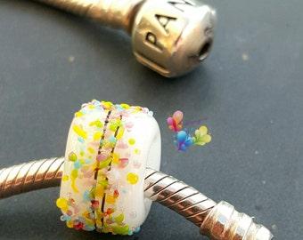 Lampwork European Charm Bead White Rainbow Blossom