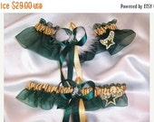 SALE 10% OFF Handmade Wedding Garter Set With DALLAS Stars fabric with Marabou Pouf