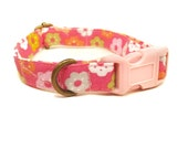 California Girl - Pink Girly Floral Organic Cotton CAT Collar Breakaway Safety - All Antique Brass Hardware