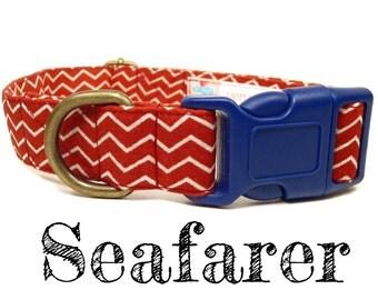 "Red White Nautical Chevron Dog Collar - Organic Cotton - Antique Brass Hardware - ""Seafarer"""