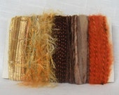 Yarn Bundle Art Yarn Scraps Metallic Gold Orange 1291