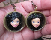 Raven Haired Beauties - upcycled doll earrings