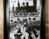 Wild west, locomotive, train, ladies, fight, nude, swimming, black and white, pen and ink, illustration, Dame Darcy , victorian