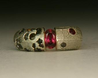 Tension Set Garnet Rough Diamonds and Sapphires