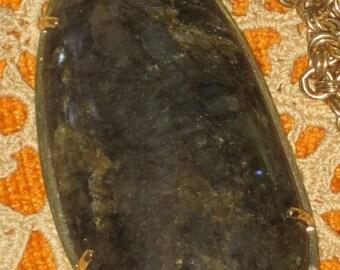 Bold Gorgeous Polished Dark Gothic Stone Necklace Vintage Ooak
