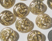 Pierced FANCY Art Nouveau Style set 11 vtg new Gold METAL buttons 24mm 15/16""