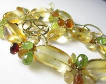 VDAY SALE As Summer Sets Necklace - Citrine, 14k Gold Fill, Spessartite Garnet, Hessonite, Vesuvianite