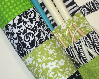 SALE - knitting needle case - knitting needle organizer - circular  knitting needle case  - muti-fabric green, black and white - 36 pockets