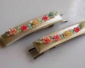 Vintage Plastic Girl Floral Flower Barrettes 1950s