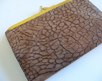 Vintage Brown Leather Pebbled Textured Wallet Coin Purse