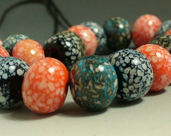 Handmade Lampwork Glass Beads SRA by Catalinaglass  Ivory Speckles