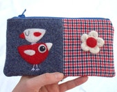 Zippered pouch purse blue red white wool with a needle felted birdie bird flower