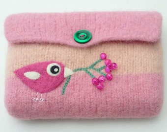 Felted bag pouch purse bag hand knit needle felted pink wool needle felted birdie birds berries