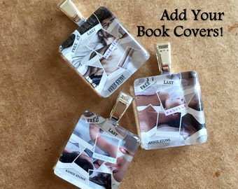 30 Book Cover Photo Party Favor Charms - Scrabble Size Custom Glass Author Charms - Book Promotion Swag or Book Signing Gift