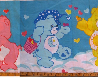 CareBears sheet and pillowcase -- twin flat, cotton blend, 2002 -- rainbow, Care Bears, hearts -- bedding or craft sewing supply fabric