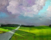 Original Landscape, Oil Painting, Small 5x7 Horizon, Cloudy Sky, Green Field, Distant Trees, Country Road, Blue Lavender, Rural Scene