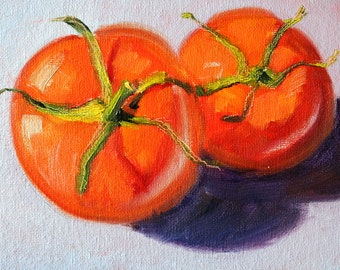 Still Life Oil Painting, Tomatoes, Red Fruit, Small 5x7 Original, Kitchen Wall Decor, Minimalist Food Art, Colorful Vegetables, Canvas