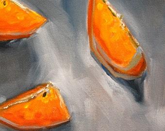 Tangerine Still Life Oil Painting, Original 8x10 Canvas, Orange Citrus, Kitchen Wall Decor, Minimalist Gray, Grey Art, Small Tropical Fruit