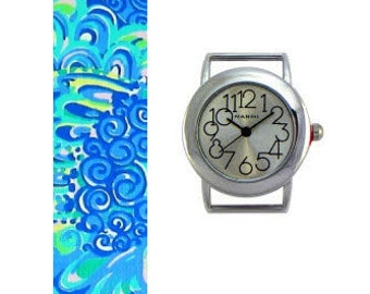 2015 Lilly Pulitzer Lilly's Lagoon Fabric Wrist Band with or without Silver Watch Face