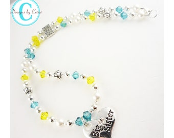 Big Sister Swarovski Necklace, Big Sister jewelry gift or Little Lil Sister silver charm, turquoise & yellow/many colors/ new baby
