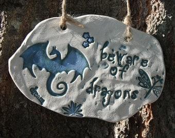 Beware of Dragons Ceramic Garden Sign