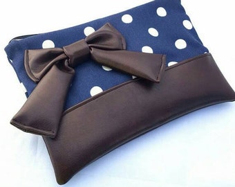 Large Navy zippered clutch with cream polka dots and chocolate brown accents