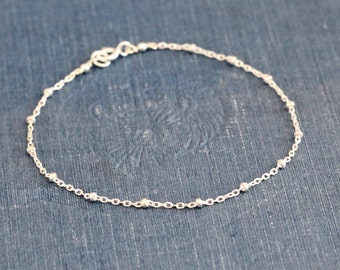 Silver Dotted Bracelet Satellite Chain Sterling Silver Bracelet, Tiny Dotted Chain, Minimal Jewelry Delicate Bracelet, 7 Inches