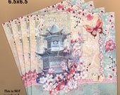 PN101 Set of 4 Paper Napkins Punch Studio ~ 5x5 or 6.5 x 6.5 Chinese collage 'Haiku Blossoms' Pagoda & Cherry Blossom
