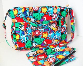 Marvel Diaper Bag Set - Diaper Bag - Messenger Bag- Zipper Closure - Bags and Purses - Marvel Diaper Bag - Diaper Bag Set - Changing Pad