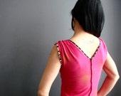 High Point  - iheartfink Handmade Hand Printed Womens Unique Metallic Starburst Art Print V Neck Jersey Top