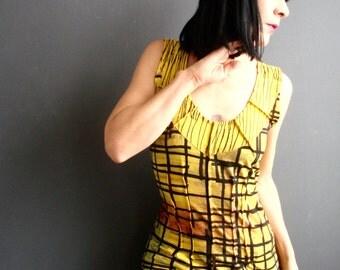 Modular Mix - iheartfink Handmade Hand Printed Womens Deep Plunge V Neck Mixed Art Print Sleeveless Jersey Top