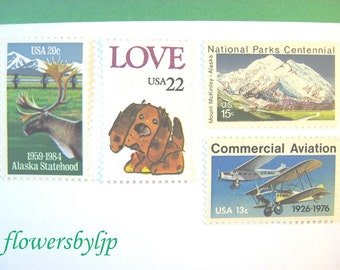 Mountain Love Postage Stamps, Love Puppy Alaska Mountain Moose Stamps, Mail 20 Wedding Invitations 2 oz, 70 cents postage stamps unused 2017