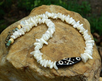 Mother of Pearl Shell Beads and Batik Bone Bead Choker Necklace