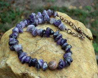 Amethyst Nugget Natural Gemstone Necklace