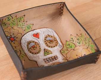 Valet Tray - Leather Catchall Tray with Sugar Skull - Great tray for bedside, nightstand or jewelry - Emerson Pattern with skull and flowers