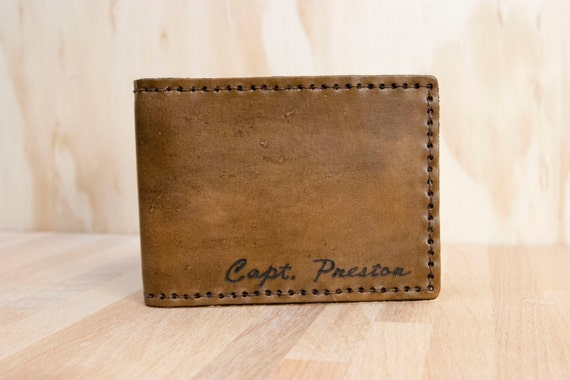 Mens Wallet - Personalized Leather Bifold Wallet - Script pattern with Custom Name in antique brown
