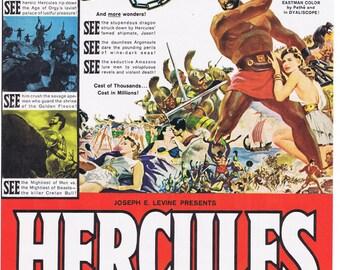 Life magazine.Hercules.Film.Cinema.original.page.ad.1959.home deco.vintage.art.gift.birthday.mom.dad.house warming.film buff.red.colourful