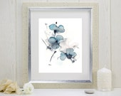"Art print of watercolor indigo and grey flowers: ""Indigo Blossoms"""