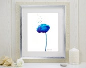"Watercolor art print of an abstract blue flower : ""Glorious Blue"""