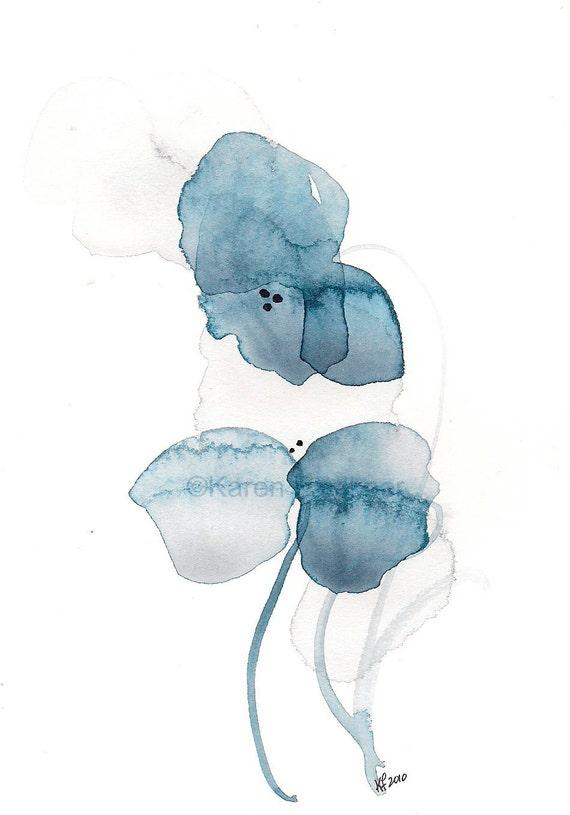 "Art print of indigo watercolor flowers: ""Daydream"""