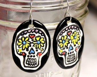 Did de Muertos Ceramic Earrings in Black