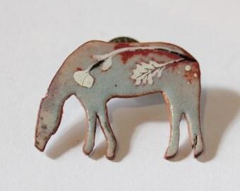 Enamel Grazing Horse Brooch pin II - OOAK - Vitreous enamel Lapel Pin